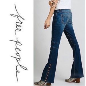 Free People Wide Leg Moto Jeans